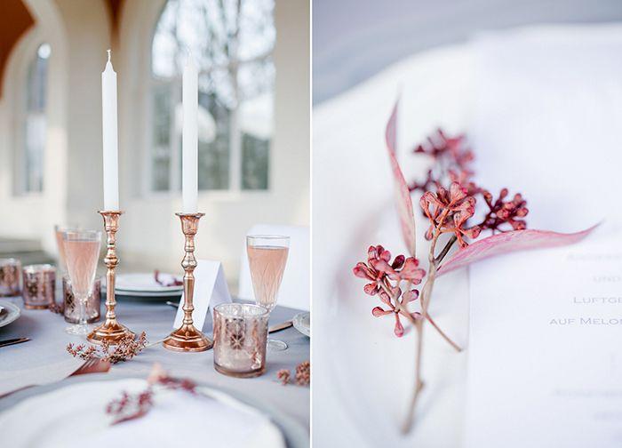 Hochzeitsdeko in Kupfer