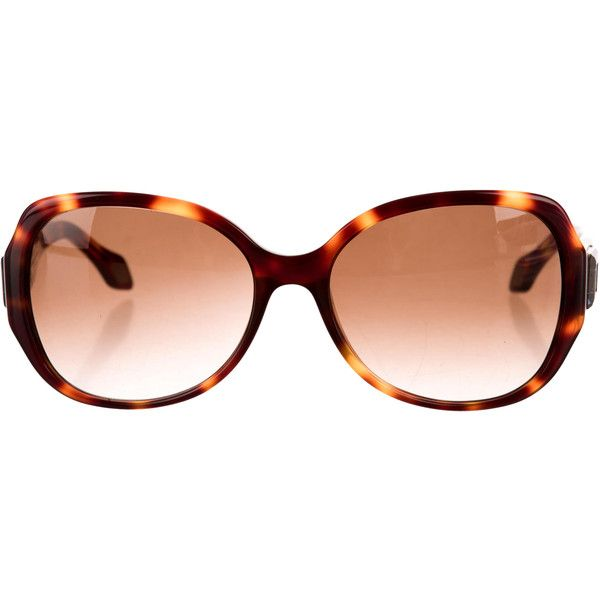 b8624d6a57 Pre-owned Carolina Herrera Tortoiseshell Square Sunglasses ( 95) ❤ liked on Polyvore  featuring