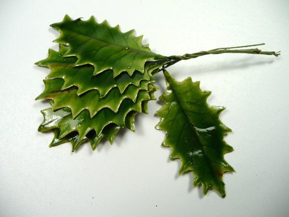 Vintage Christmas Holly Leaves NOS from Germany by APinkSwan