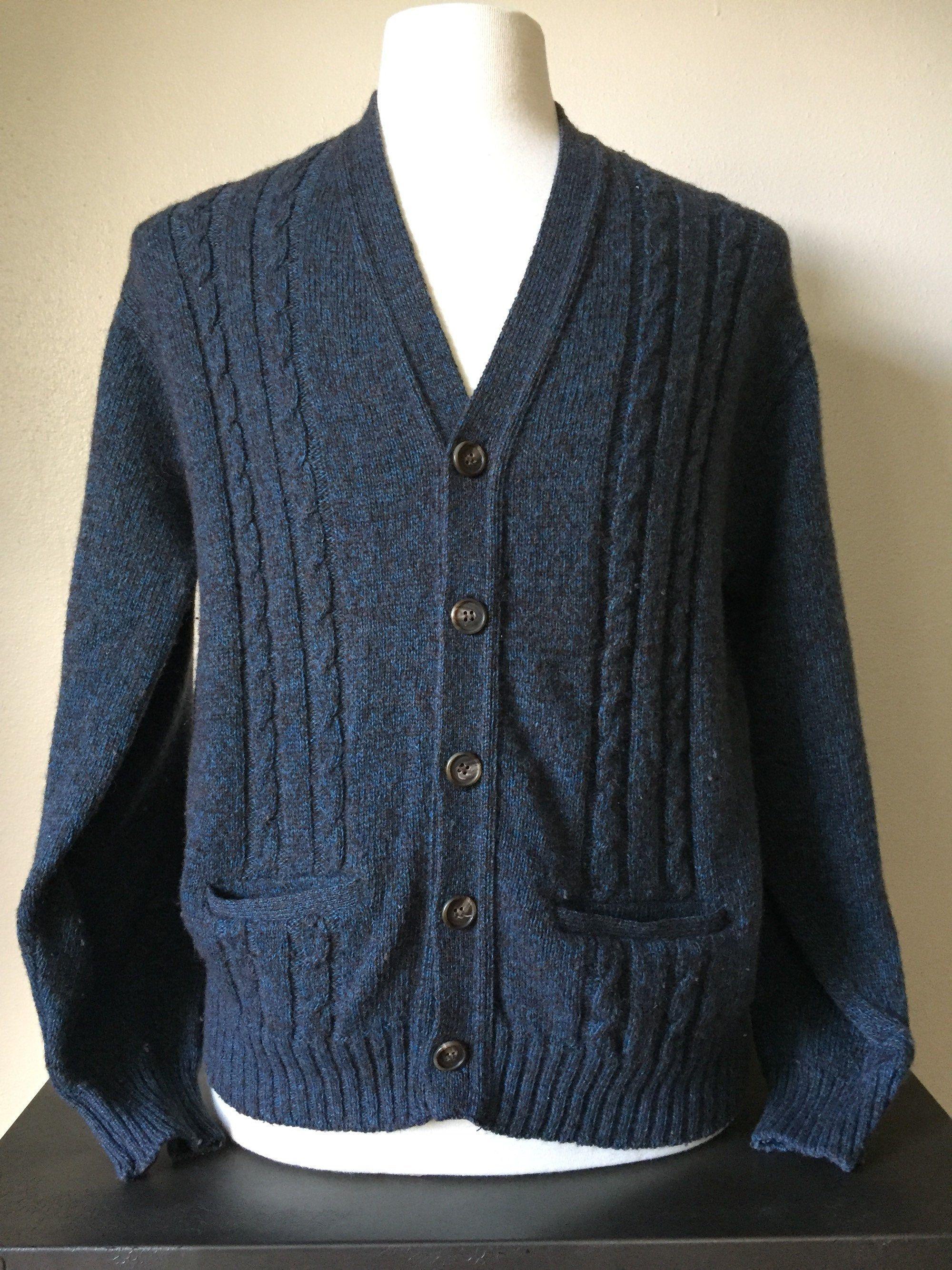 Vintage 1970s silk cotton blue print sweater