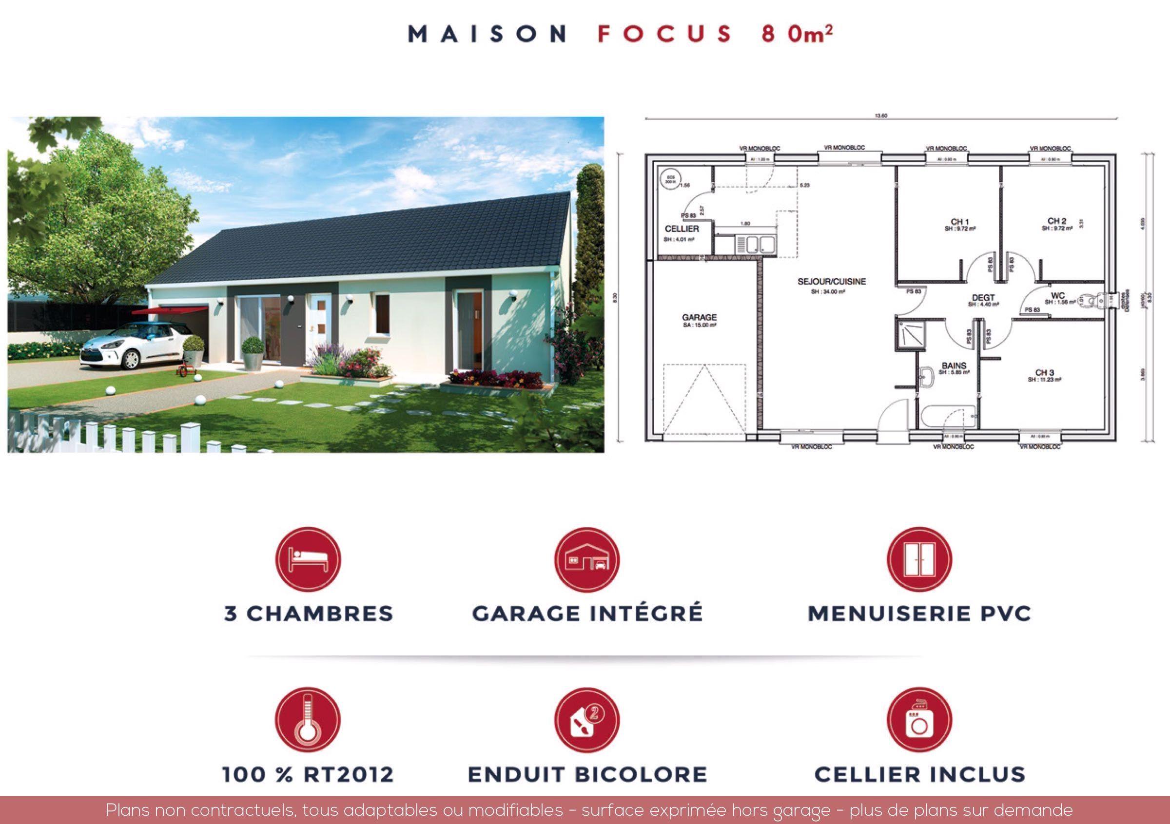 Focus 80m2 87000 Maison Plain Pied Menuiserie Pvc Maison