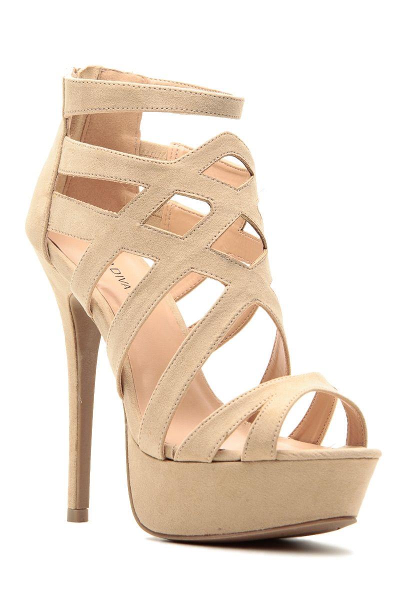 57640064591a Natural Faux Suede Cross Strap Platform Heels   Cicihot Heel Shoes online  store sales Stiletto Heel Shoes