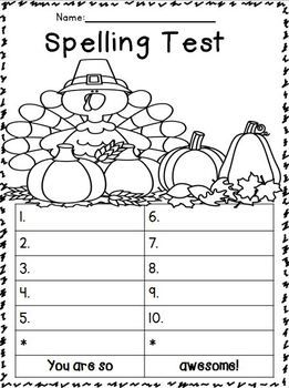 Spelling Test FREEBIES: November Edition!!!! :o) | Writing