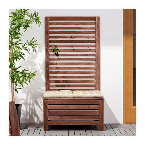 Pplar bank met wandpaneel buiten bruin gelazuurd bruin balkon den haag en bank - Wandpaneel balkon ...