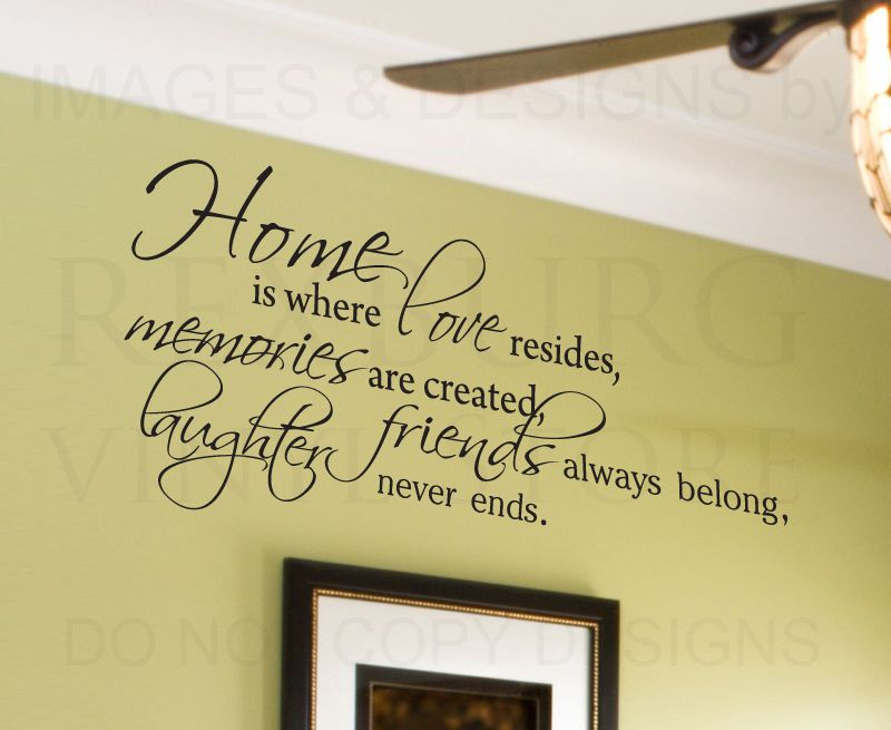 Wall Decal Quote Sticker Vinyl Lettering Home is Where Love Resides ...
