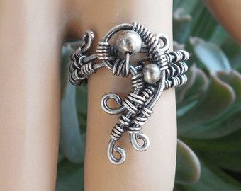 Sterling silver ring - mystical ring - boho jewelry - wire wrapped ring - bohemian rings - wire jewelry - boho rings - size 7.5 ring