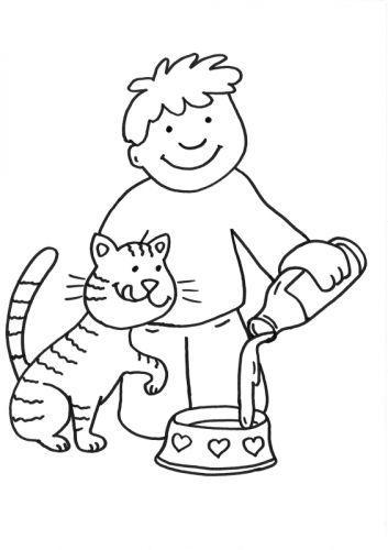 Katzen: Katze bekommt Milch zum Ausmalen | ausmalen | Pinterest ...