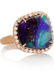KIMBERLY MCDONALD 18-karat rose gold, opal and diamond ring #opal #rings #jewelry