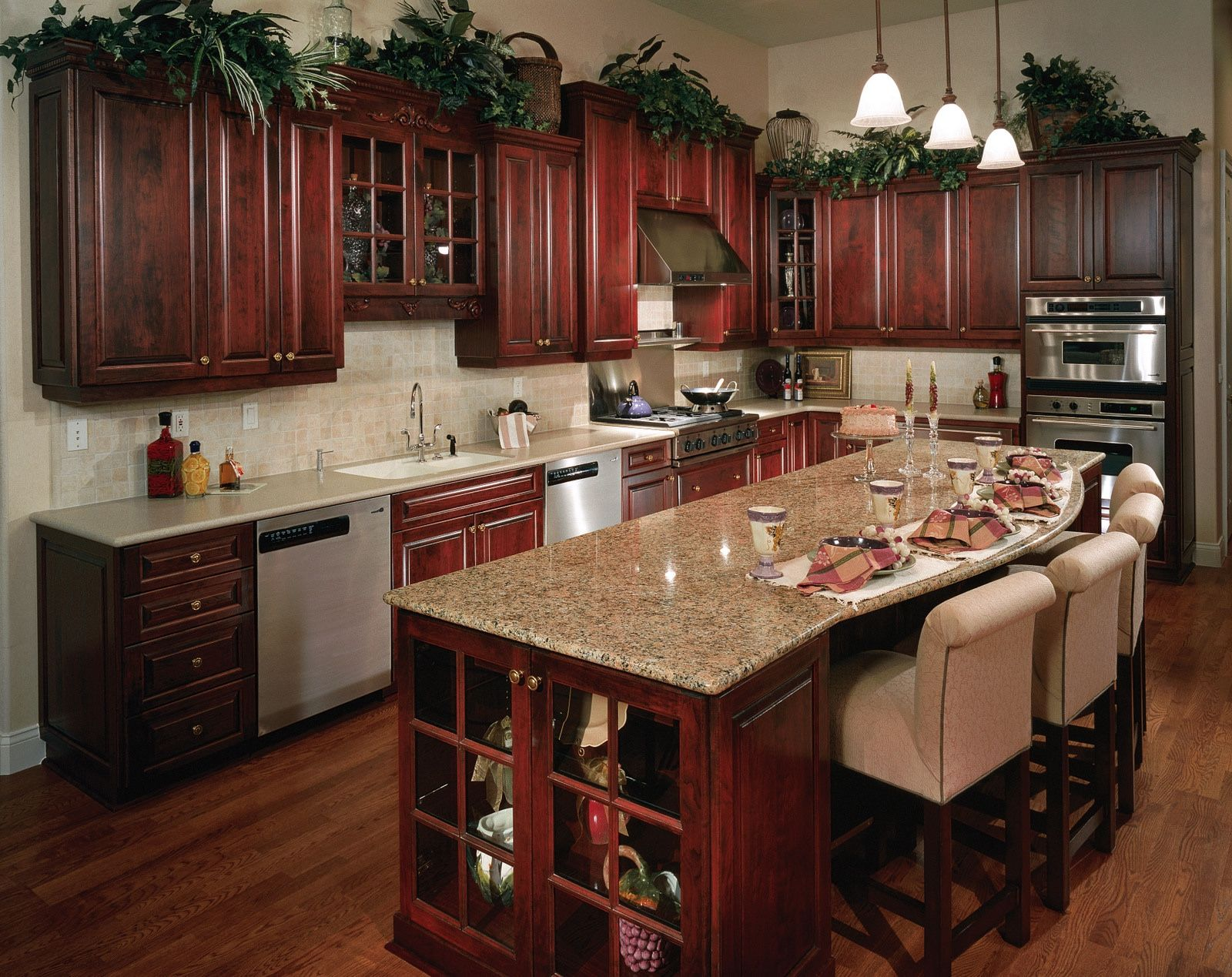 Küche interieur farbschemata küche farben mit kirsche schränke  ein frühstücksbar kann man die