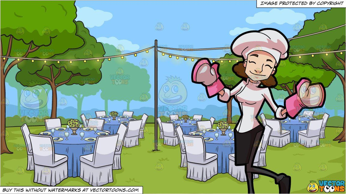 a happy female pastry chef and an outdoor wedding reception rh pinterest co uk