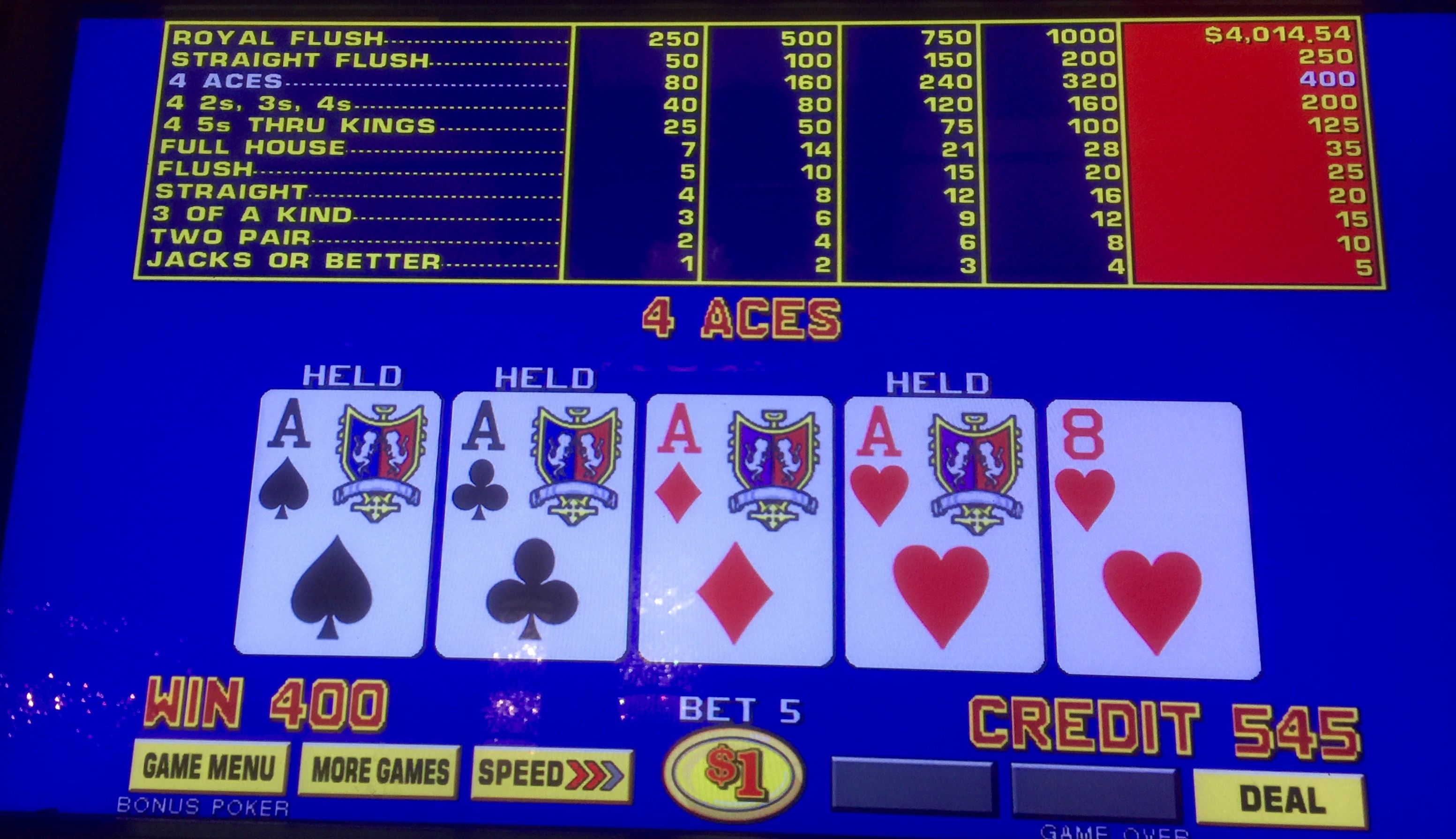 I just love to catch Four Aces. On this day I had been