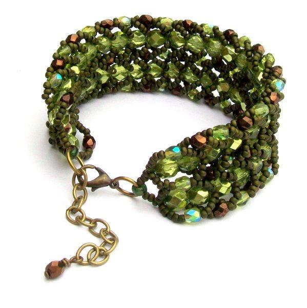 Olive Green Crystal Cuff - £35