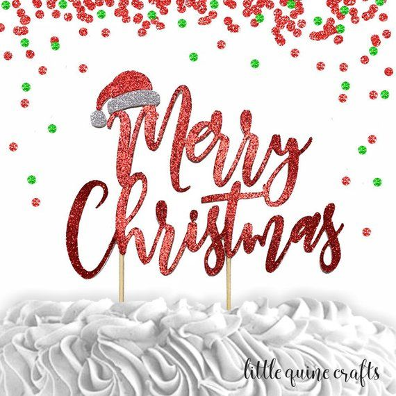 Merry Christmas Party Supplies Decoration Silver Glitter Letters Cake Toppers