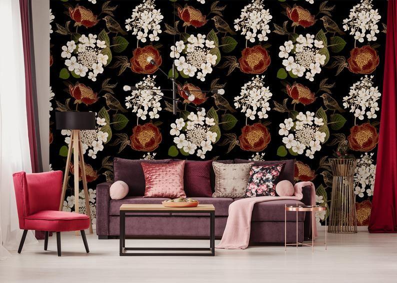 Hydrangea Flowers Birds Walpaper Self Adhesive Retro Wall Etsy Standard Wallpaper Removable Wallpaper Retro Wallpaper