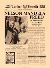 Headline The day Nelson Mandela was released from South African Prison