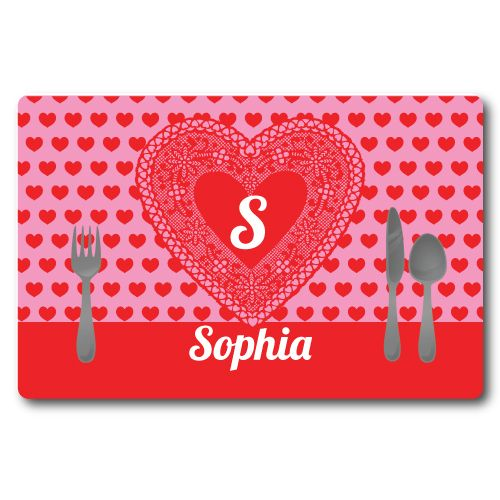 Personalized Lace Heart Placemat