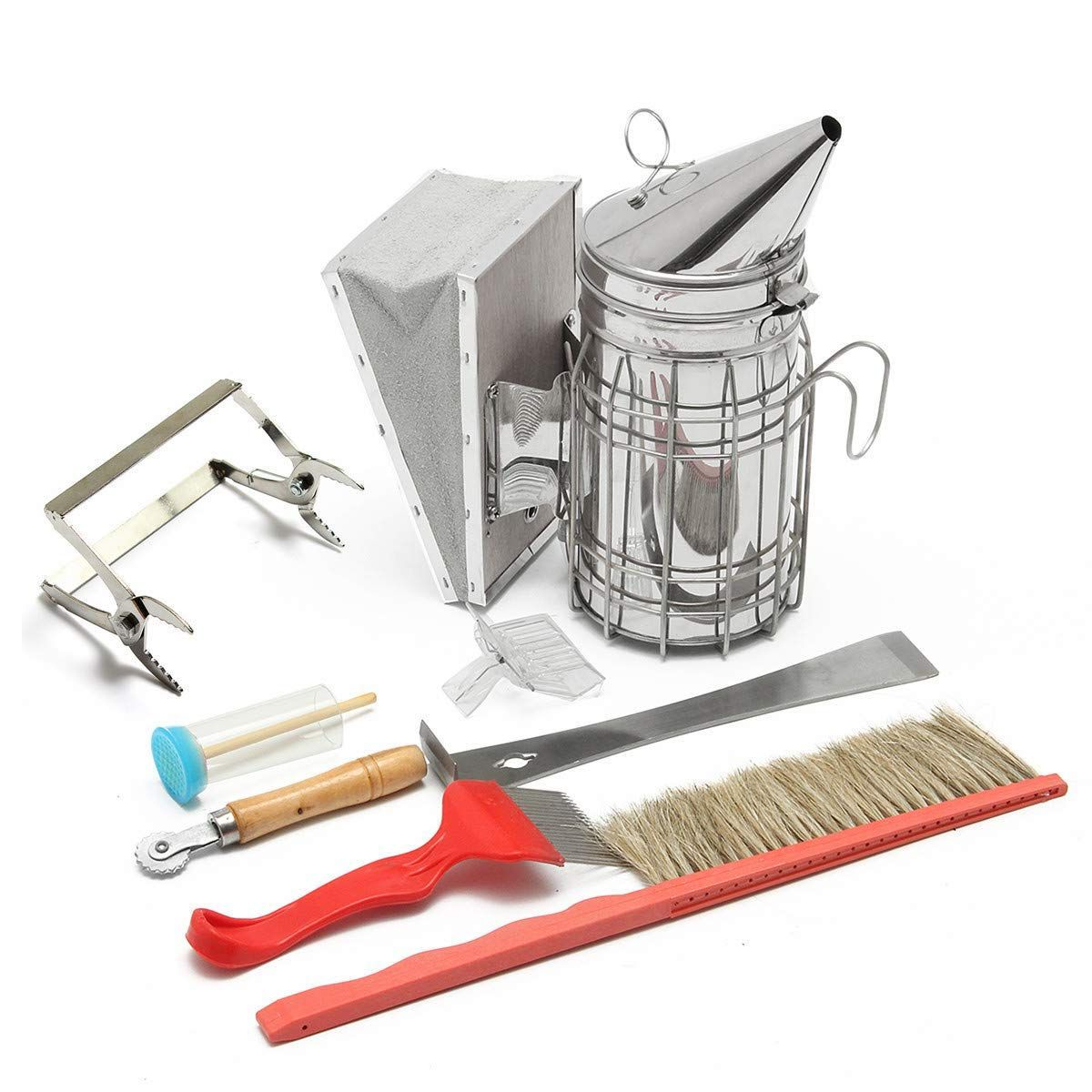 Beekeeping Stainless Steel Smoker Hive tool,Uncapping fork and Brush