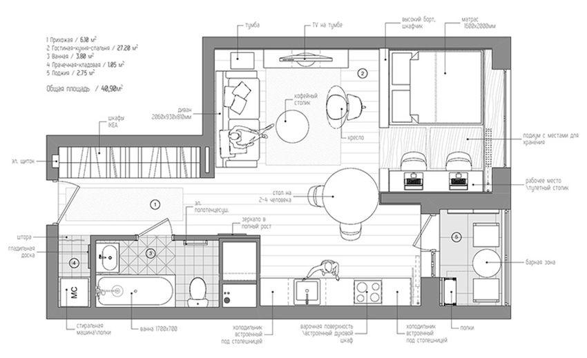 俄羅斯 12 坪簡約小套房 Decomyplace 新聞台 Studio Apartment Floor Plans Small Apartment Modern Apartment Floor Plans