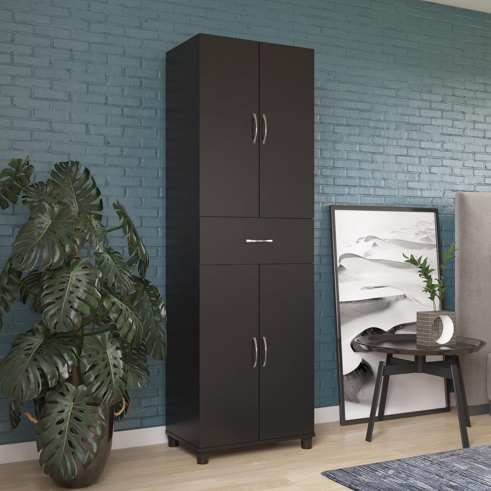 Realrooms Basin Storage Cabinet With Drawer Kitchen And Pantry Organizer Black Walmart Com In 2020 Storage Cabinet With Drawers Pantry Organization Storage