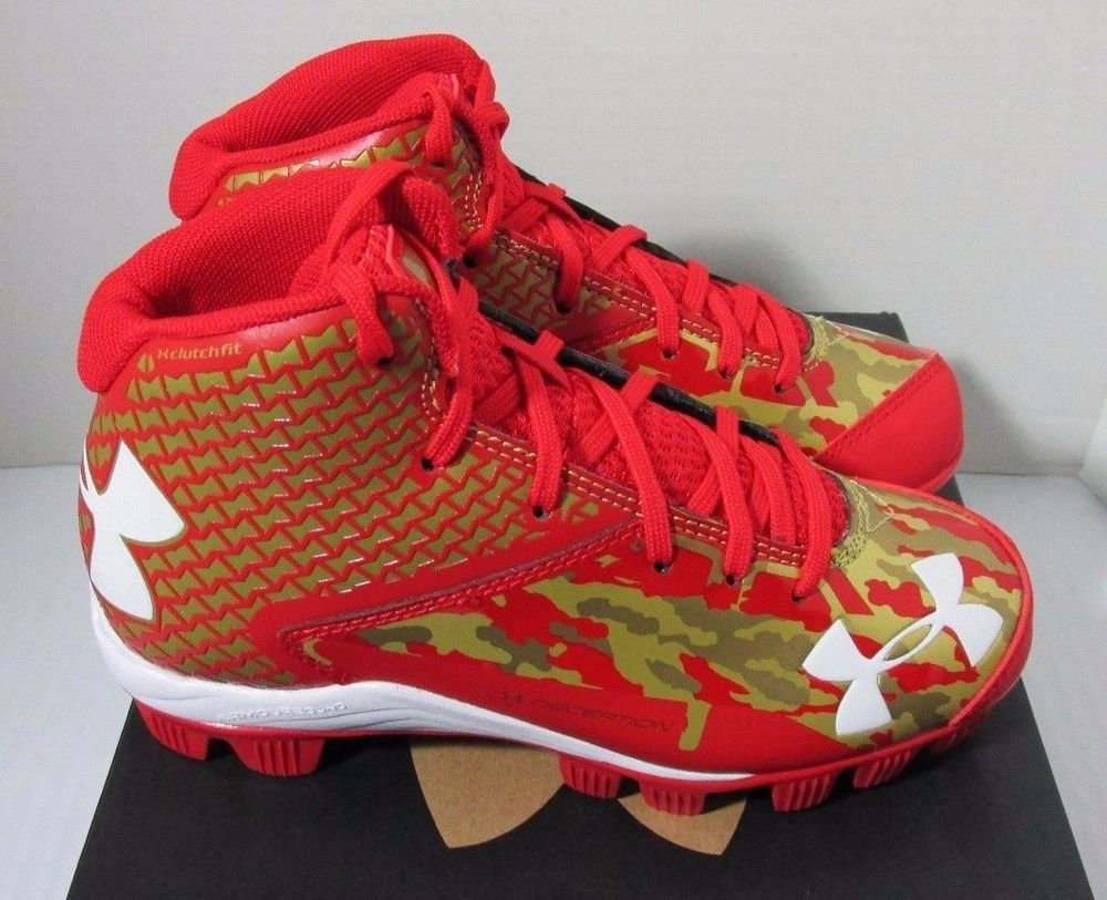 Under Armour Deception Mid RM Jr Youth Baseball Cleats Red   Gold Bryce  Harper  UnderArmour 1f872636ec4