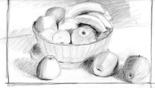 Dessin Au Crayon Dune Corbeille De Fruits Croquis Croquis