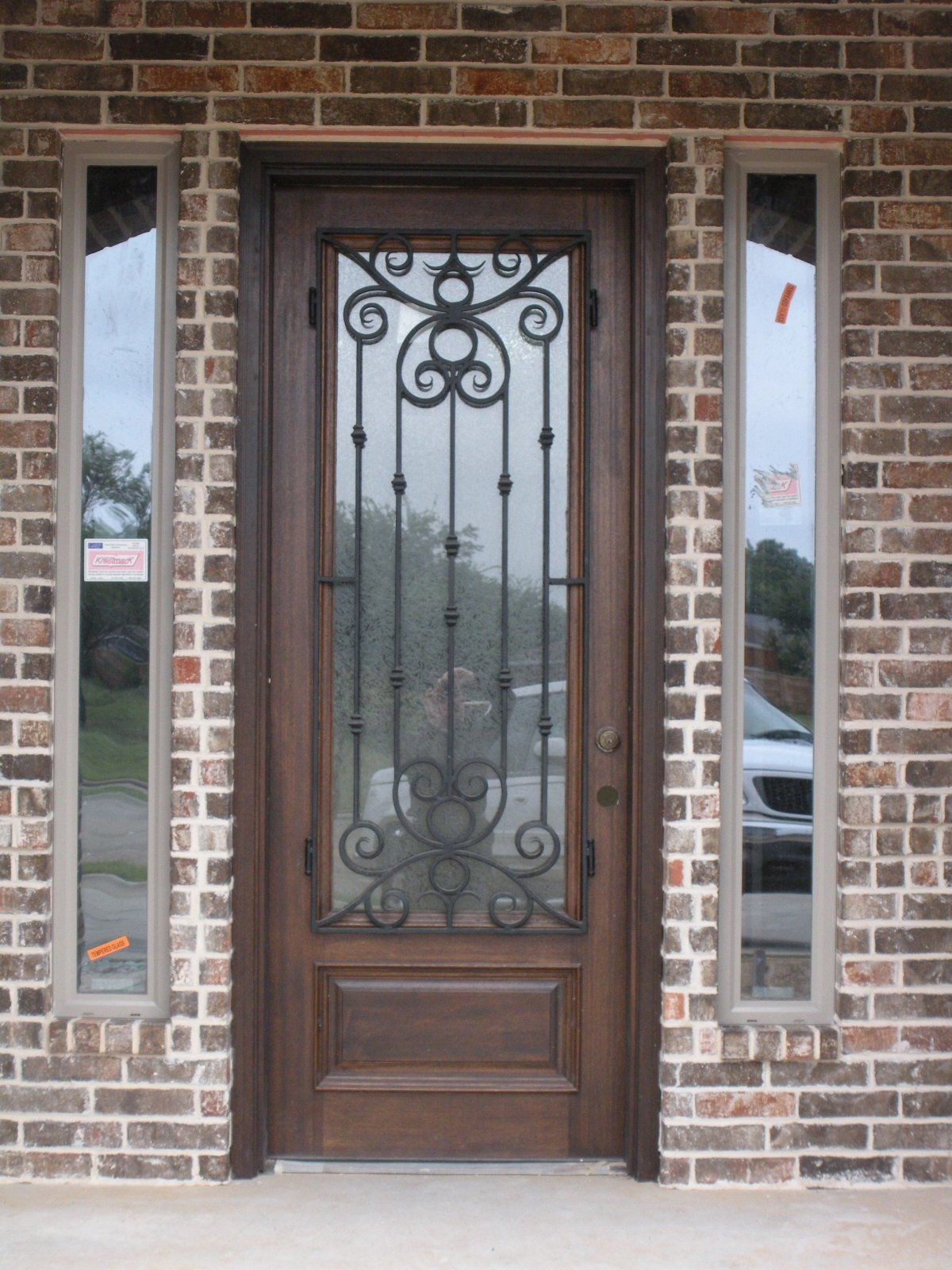 Astonishing Half Glass Rustic Trellis Front Door Ideas With Brown Mahogany  Frames As Well As Brick Wall Exposed Facade For Rustic Front Entrance Door  Ideas