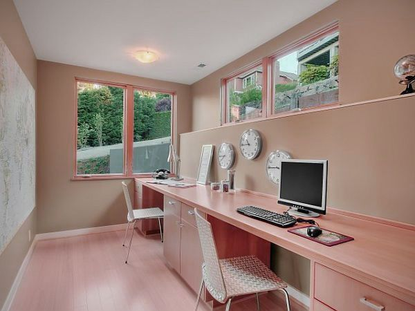 Home Office On Long Wall Google Search Home Office Design Apartment Decorating On A Budget Shared Home Offices