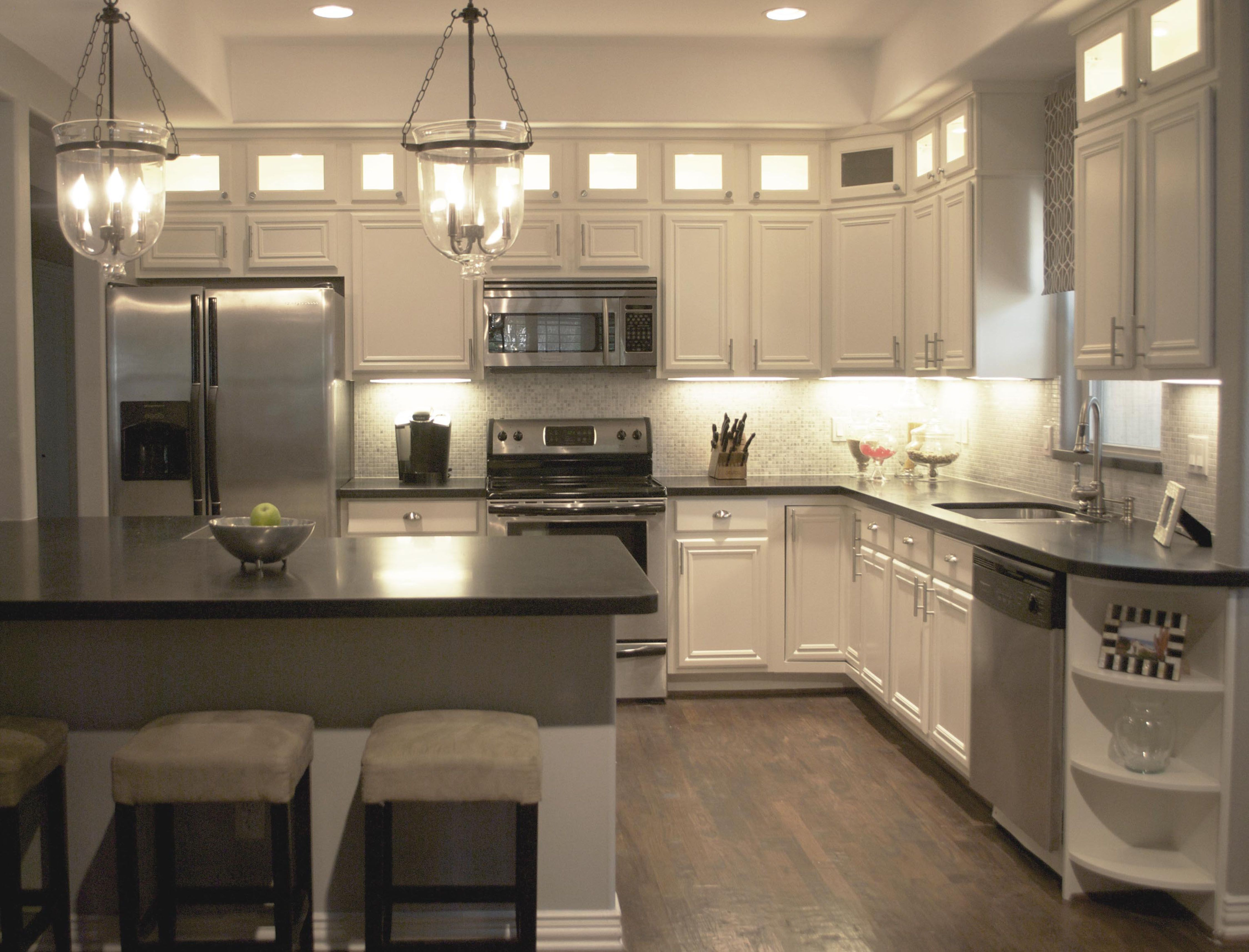 attractive how to remodel a kitchen 6 white under cabinet lighting kitchen - Kitchen Counter Hanging Lights