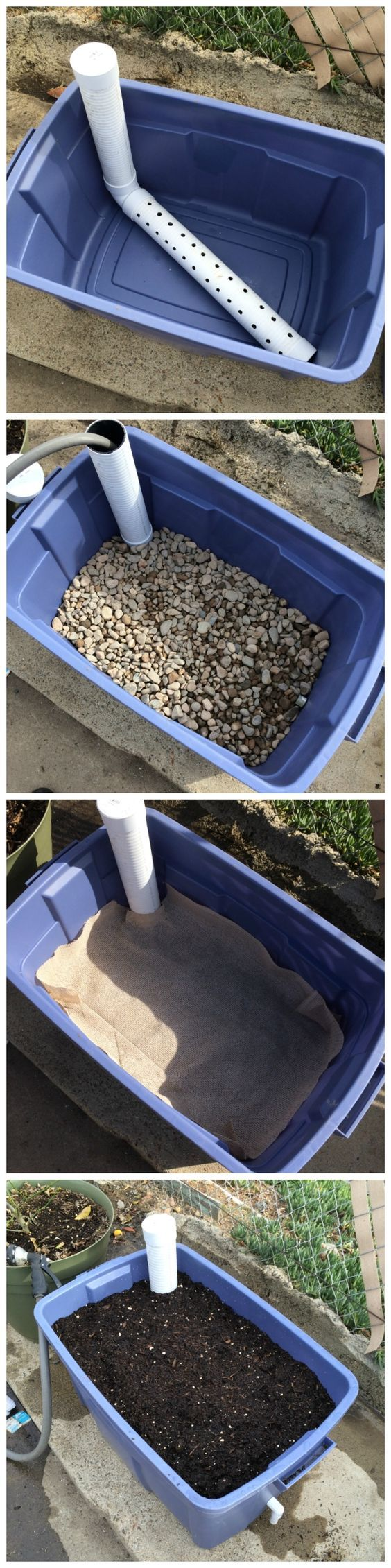 DIY Wicking Bed Container Gardening. This is a great idea to ensure less and adequate water for your plants.