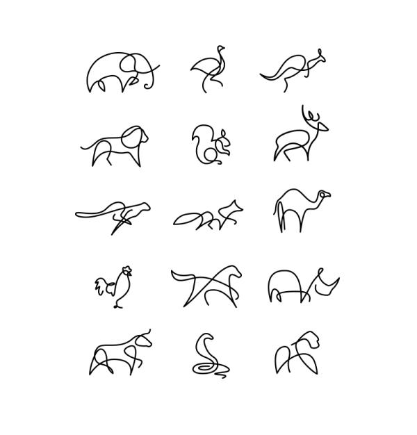 Five Favorites Animal Line Drawings Line Art Drawings Single Line Drawing