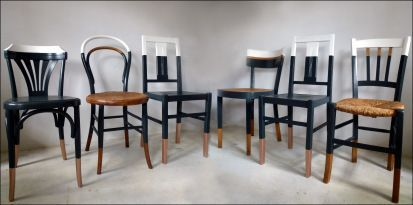 Set Of 6 Chairs Mismatched Vintage Style Bistro Thonet Baumann