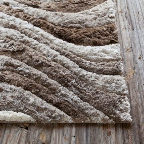 Hand Woven Contemporary Shag Rug 79x106 Ivory Taupe Beige