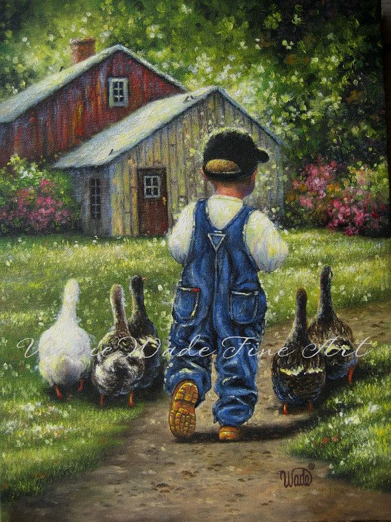 Little Farm Boy Art Print boys room wall art by VickieWadeFineArt