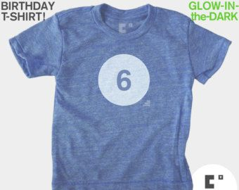 Birthday Shirt Boy 6 Boys Sixth 6th Kids TShirt GLOWS IN DARK Six Year Old Tee Gift For Bday