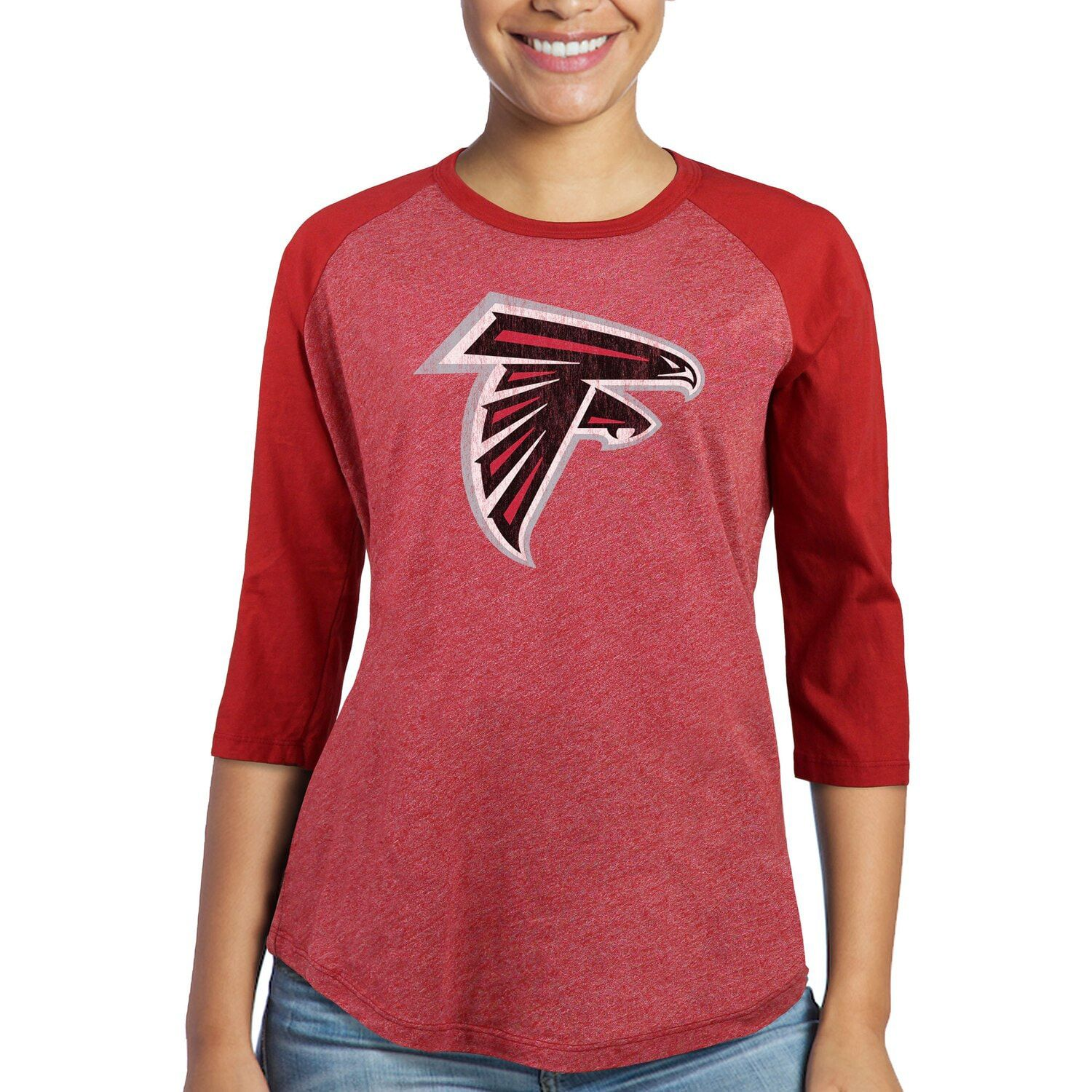 Women S Majestic Julio Jones Red Atlanta Falcons Player Name Number Tri Blend Three Quar With Images Long Sleeve Tshirt Men Atlanta Falcons Players Three Quarter Sleeves