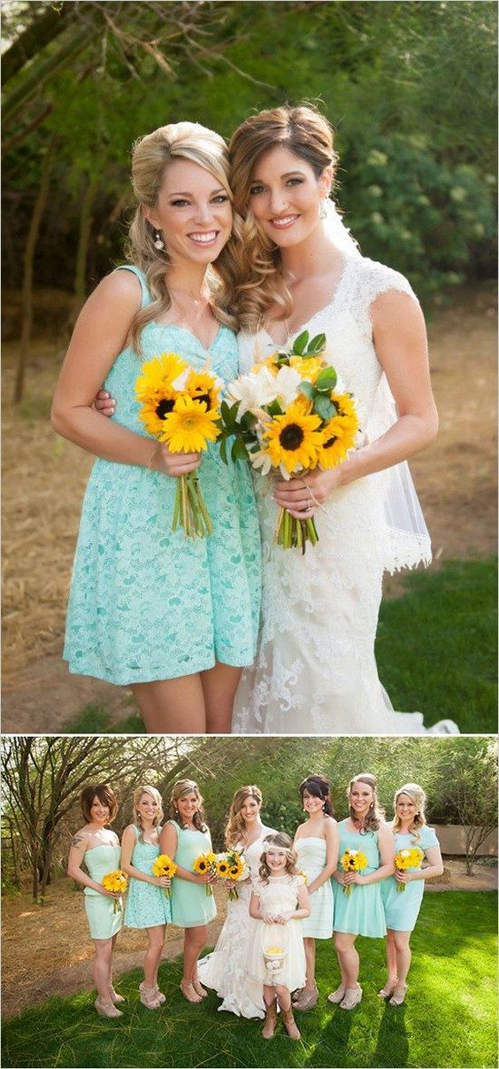 40 Spring Summer Mint And Yellow Wedding Ideas Mint Bridesmaid