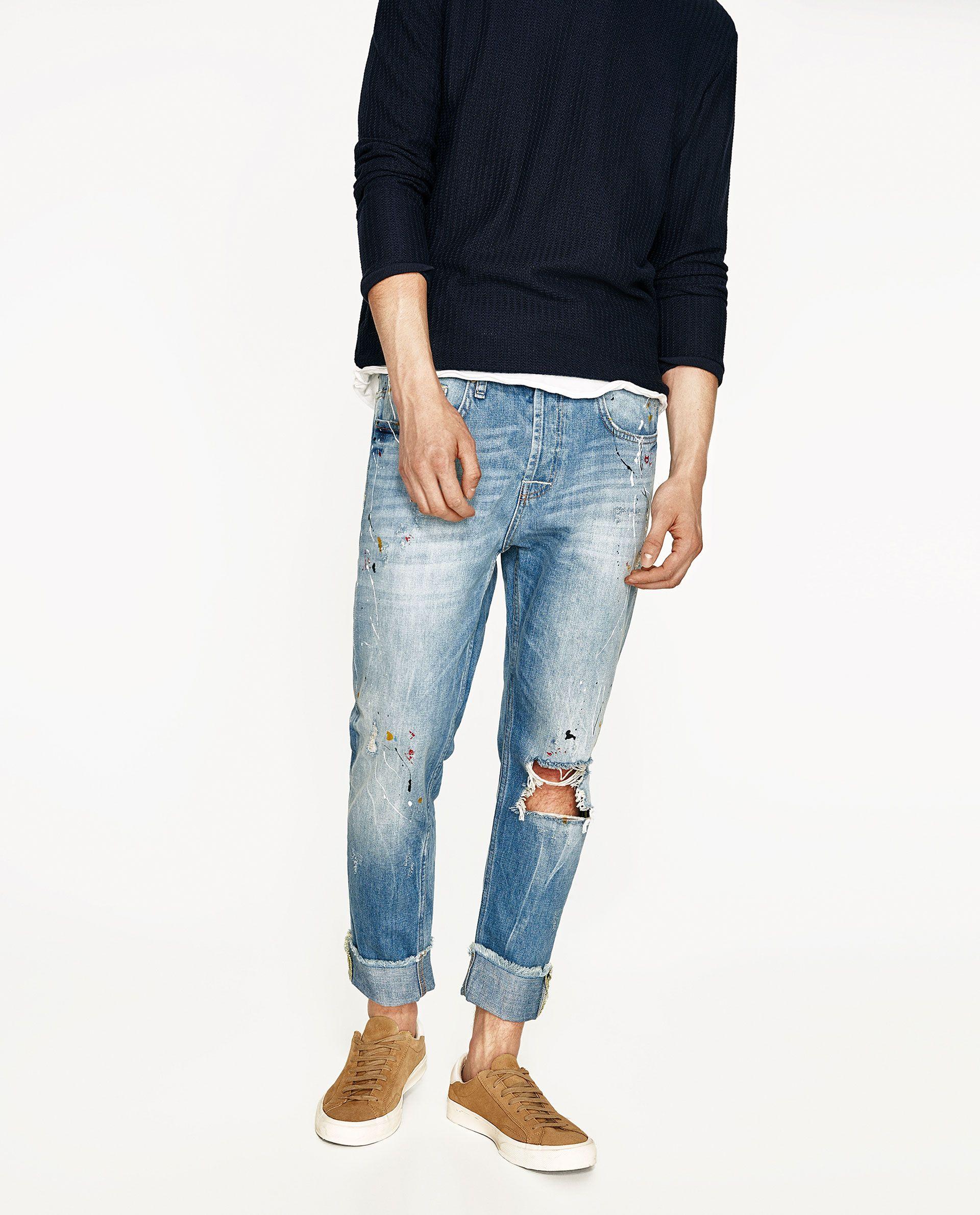 Imagen 2 De Pantalon Pintura Colores De Zara Denim Details Mens Denim Jeans