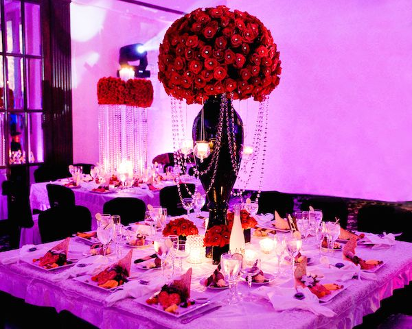 Bold Red Wedding Centerpieces with Crystal Studs and Dangling ...