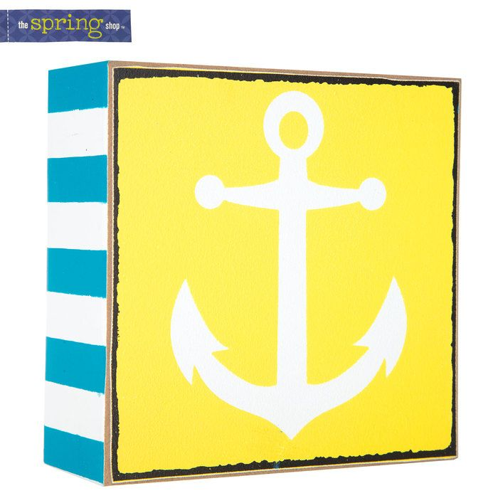 Yellow, Blue & White Anchor MDF Decor