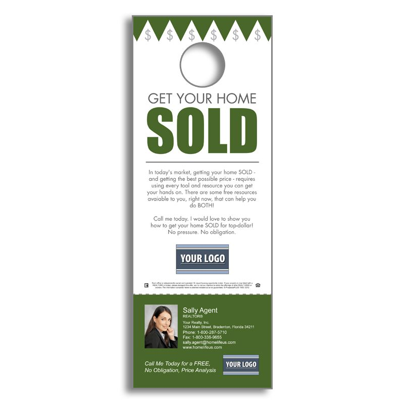 Real Estate Fsbos  Get Your Home Sold  Door Hanger  Agent