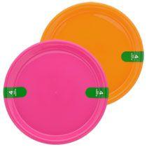 Bright Plastic Pink and Orange Plates, 4-ct. Packs