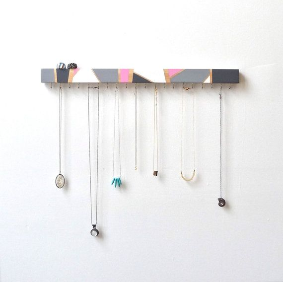 This jewelry organizer is handpainted in a minimal yet striking