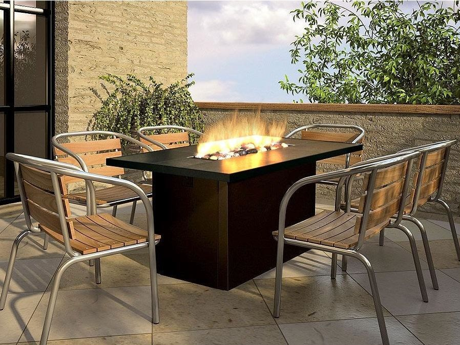 Outdoor Dining Table With Fire Pit In The Middle Fancy Pendant