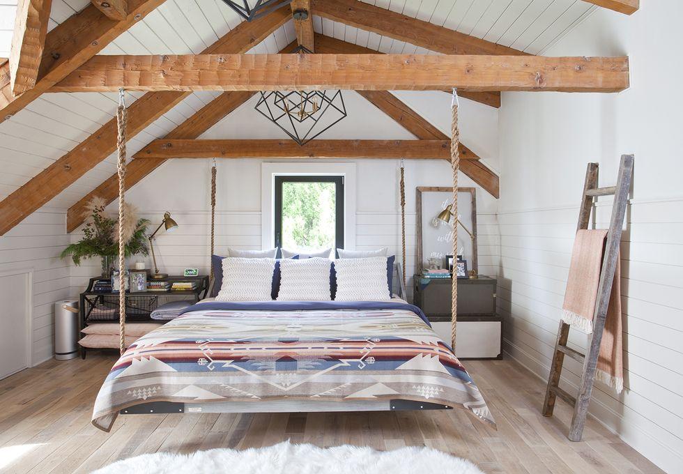 Chip Wade S Misty Mills Cabin Reveal Hgtv Star Lake House Renovation In 2020 Bedroom Swing Rustic Bedroom Interior Design Bedroom