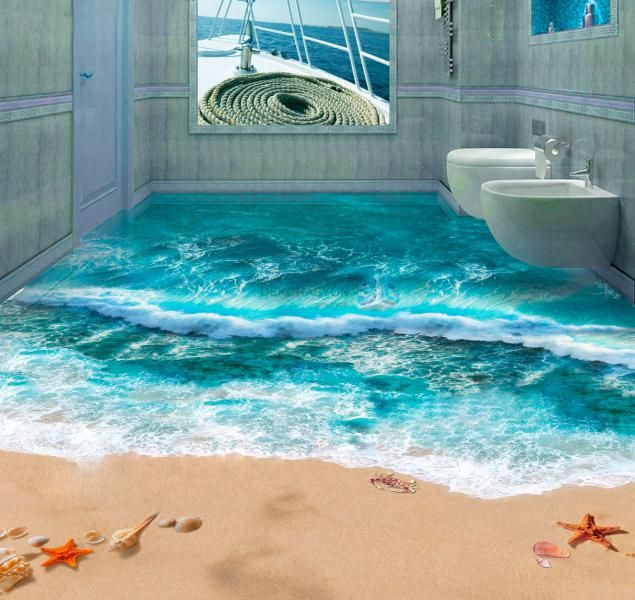 17 Beautiful 3D Flooring Designs Ideas  3D Beach And House Awesome 3D Bathroom Designs 2018
