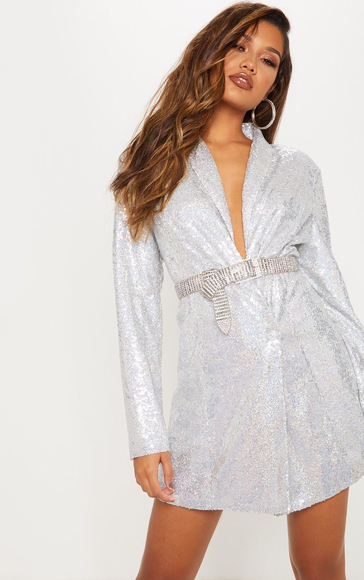 4478c0784c67 Silver Sequin Oversized Blazer Dress in 2019 | Mood board | Blazer ...