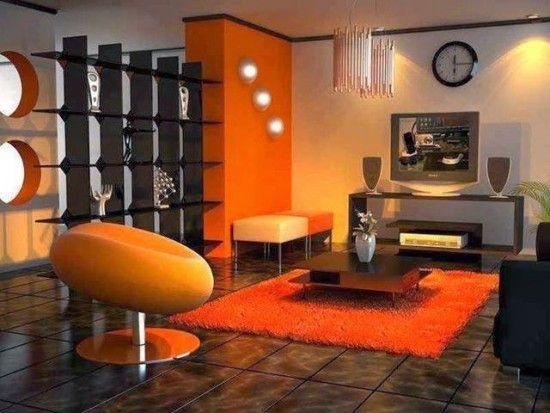 Sala color naranja pinteres - Decoracion naranja ...