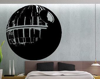 Death Star Wall Decal Gamer Gifts For Him Star Wars Wall Print - How to make vinyl wall decals with silhouette cameo