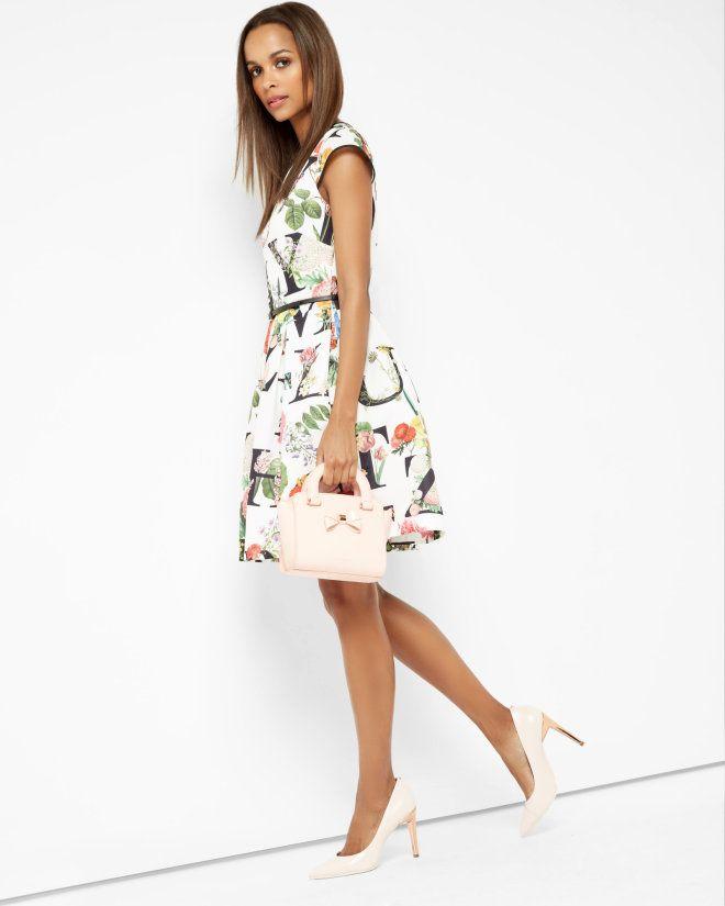 Floral A-Z skater dress - Ivory  c28854fa4