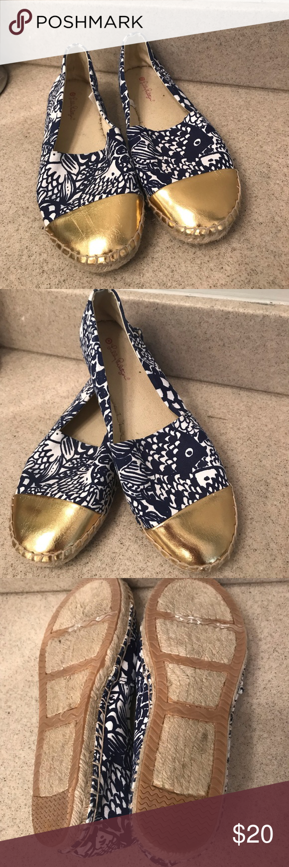 136e11fce35b18 Lilly Pulitzer For Target Upstream Espadrilles Marvelous pair of Lilly  espadrilles with gold toe and whimsical